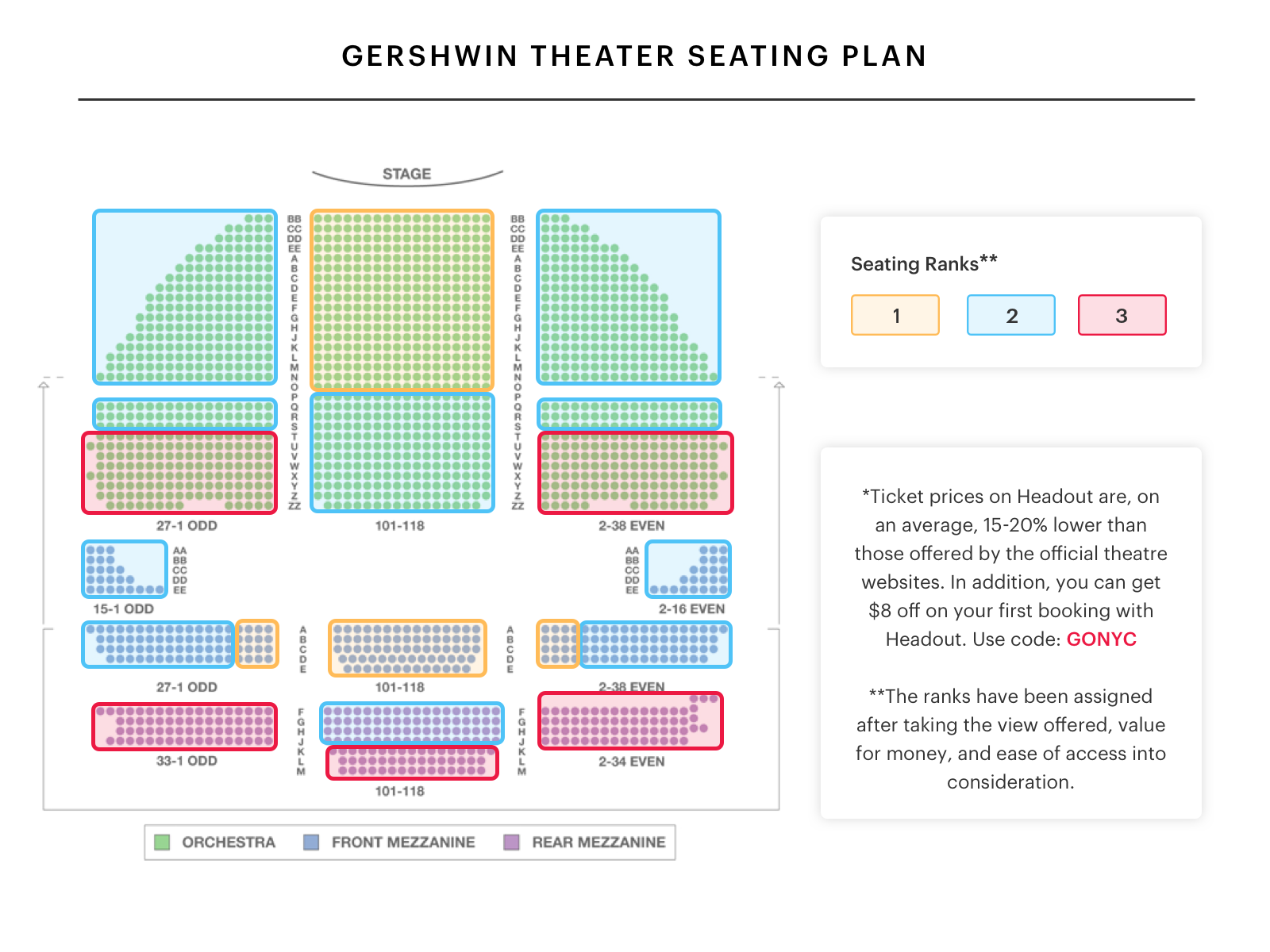 Gershwin theater seating chart wicked seating guide