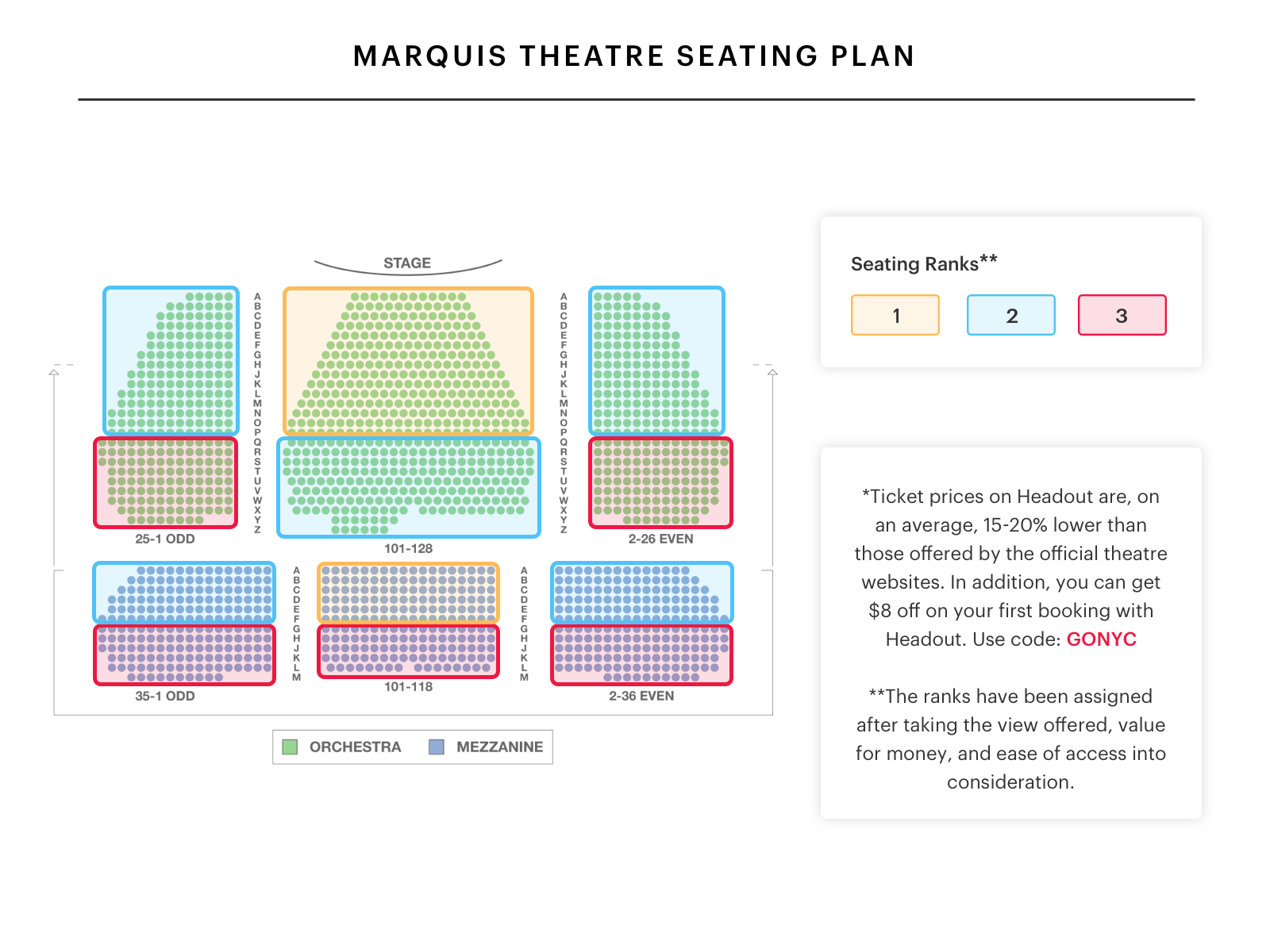 Marquis theatre seating chart escape to margaritaville seating guide