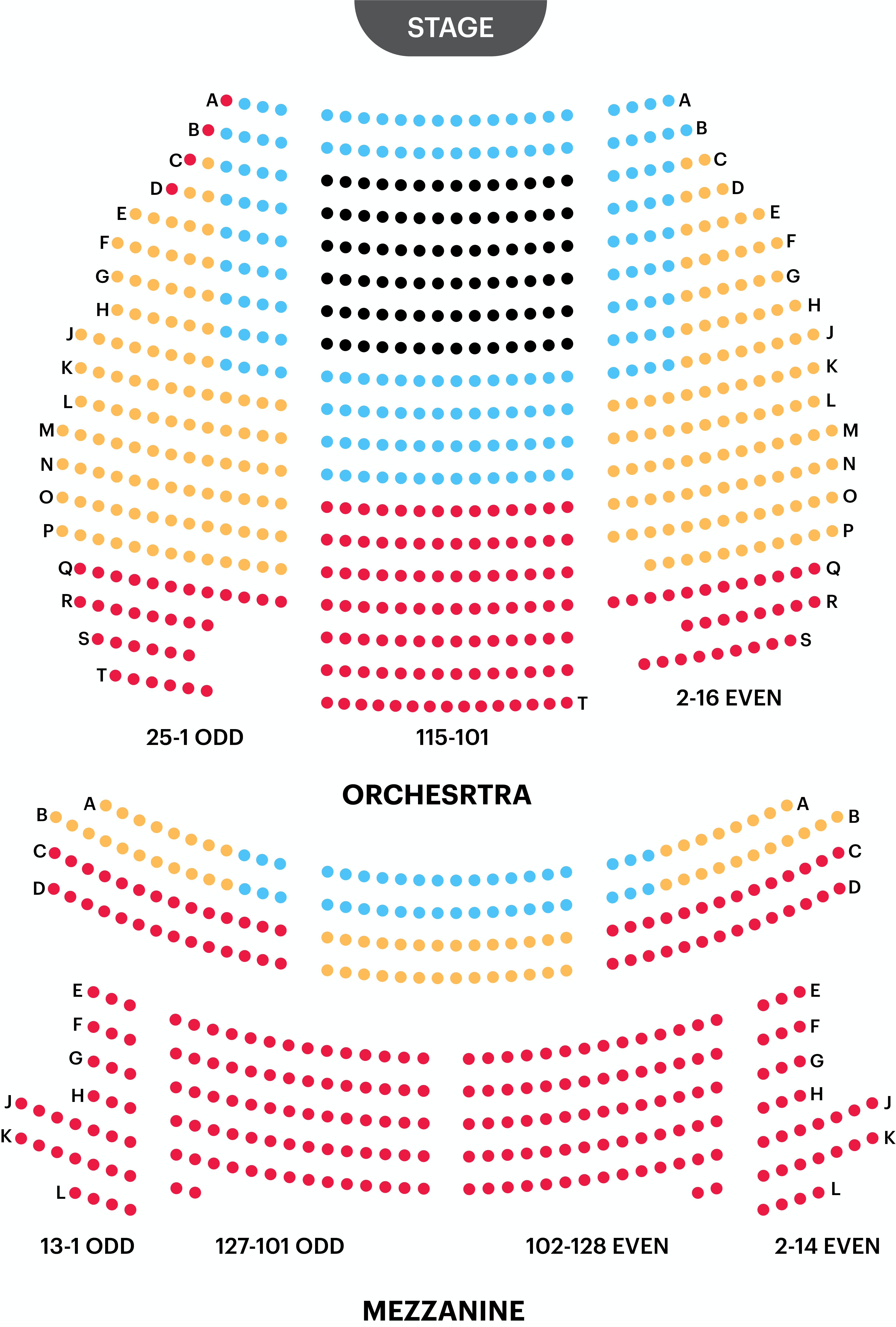 Eugene O'Neil Theatre Seating Chart
