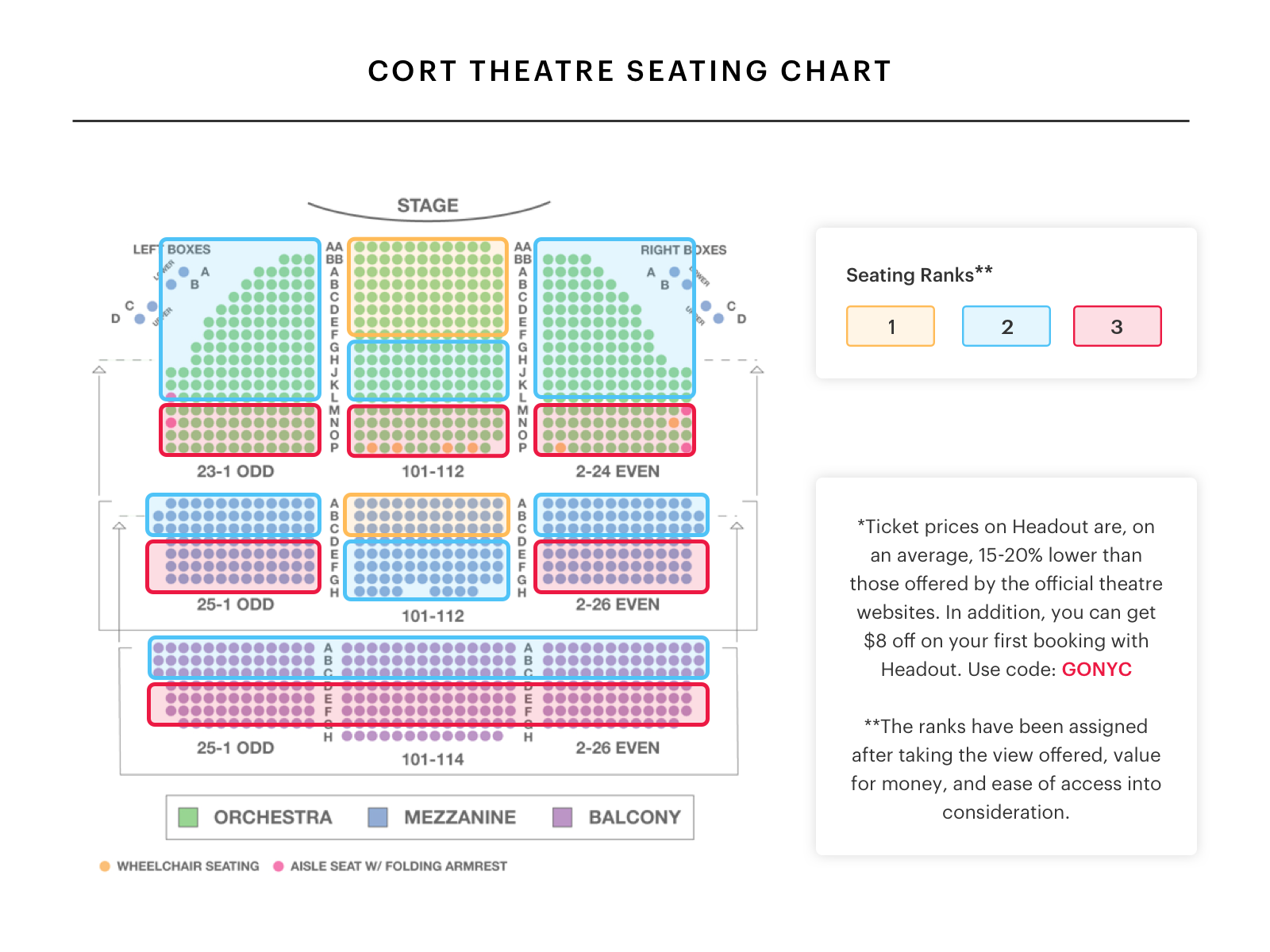 Cort theatre seating chart best seats pro tips and more