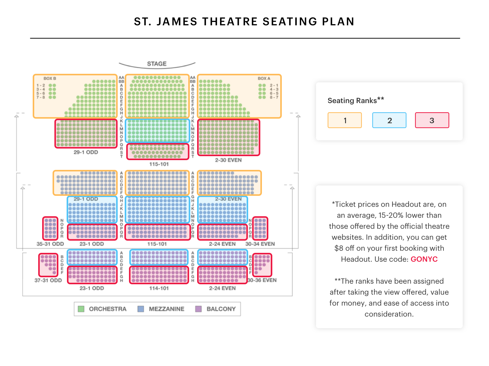 Broadway theater nyc seating chart j for Broadway plan