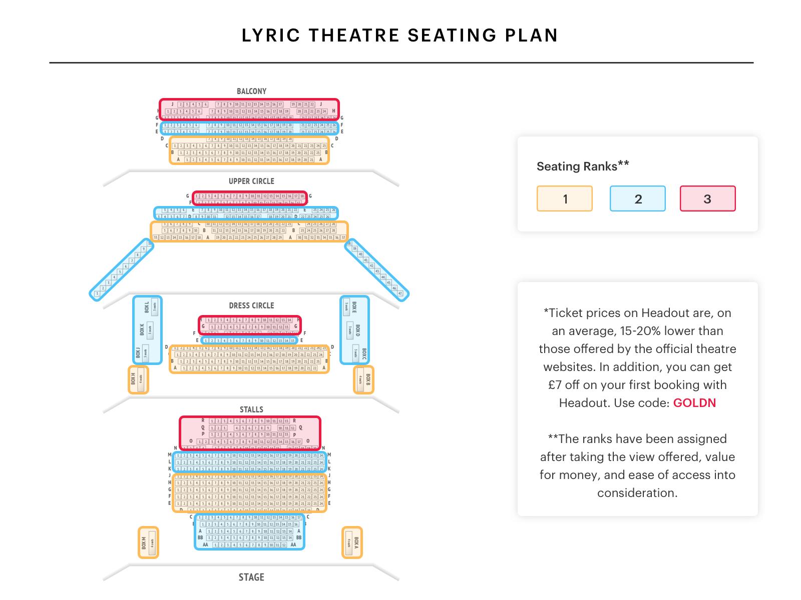 lyric theatre seating plan