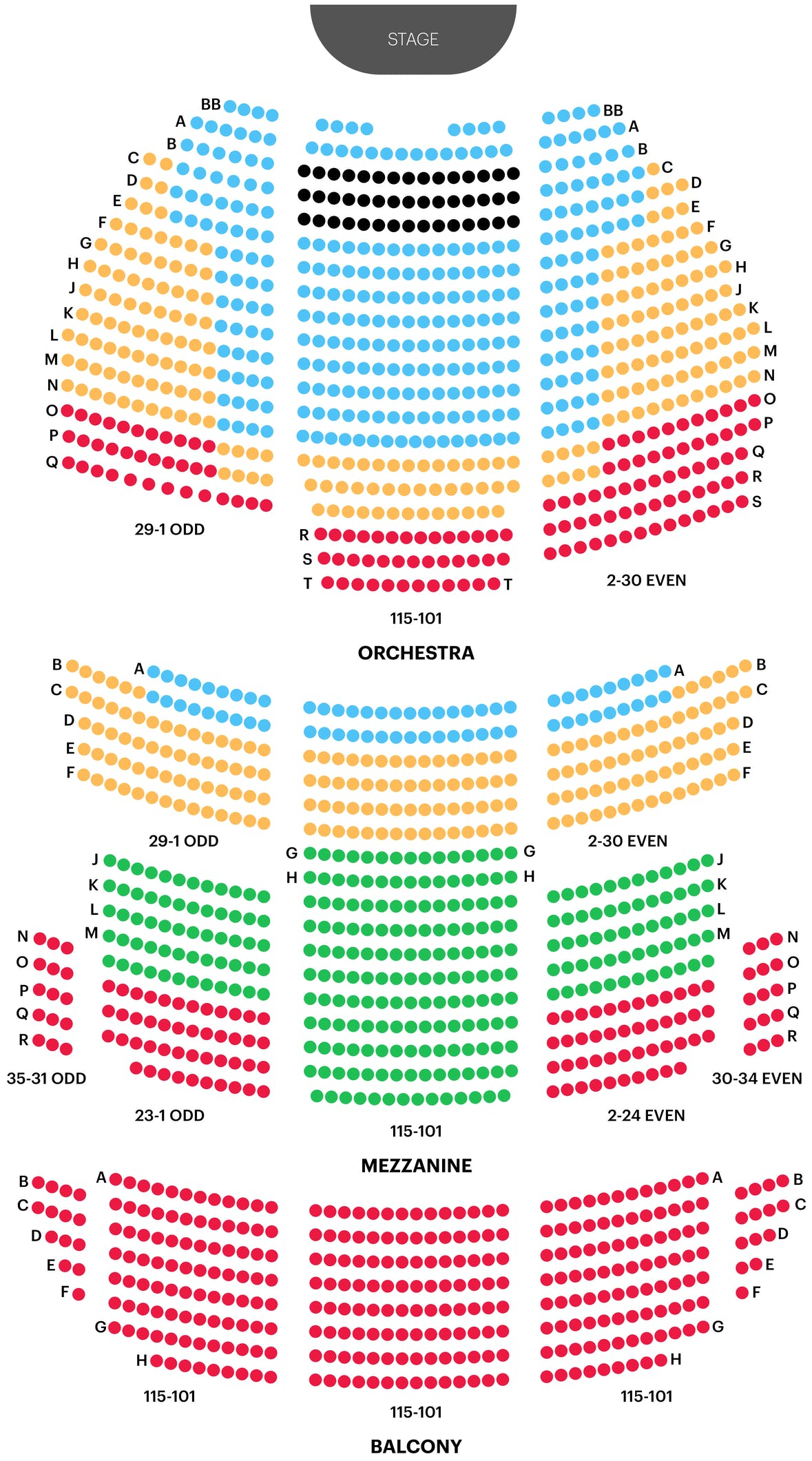 St. James Theatre Seating Chart Map