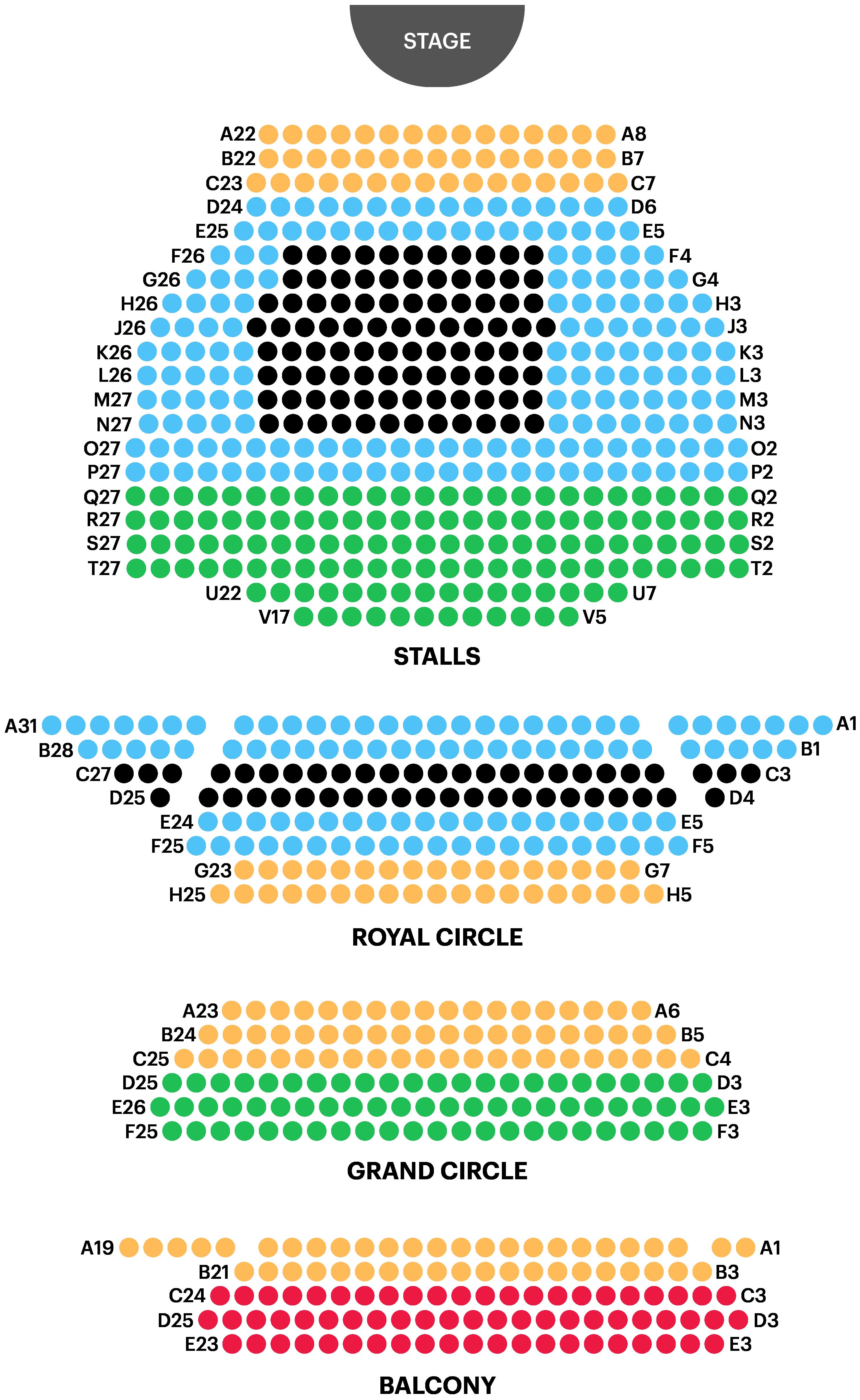 Noël Coward Theatre Seating Plan