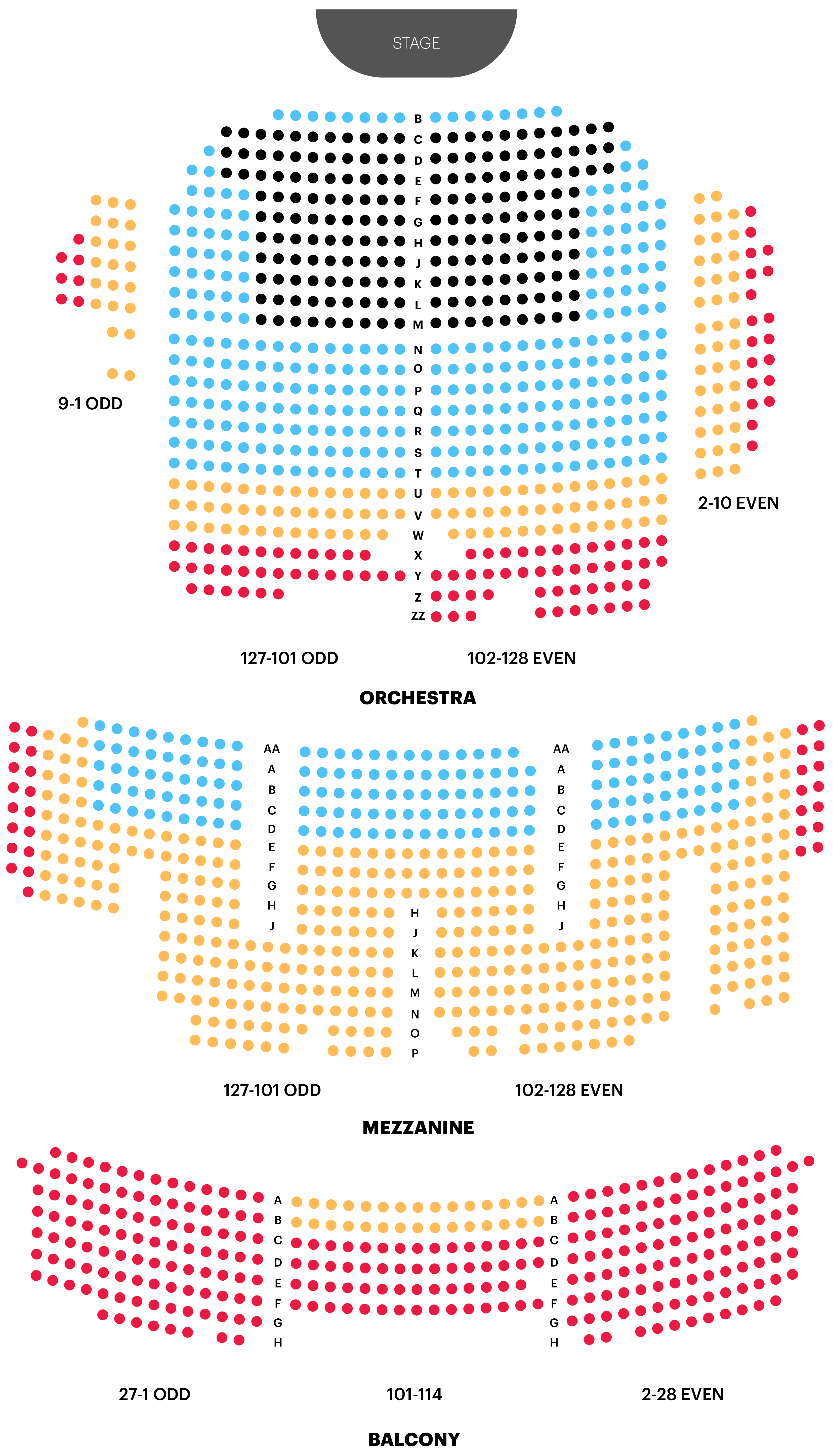 Palace Theatre Seating Chart Map