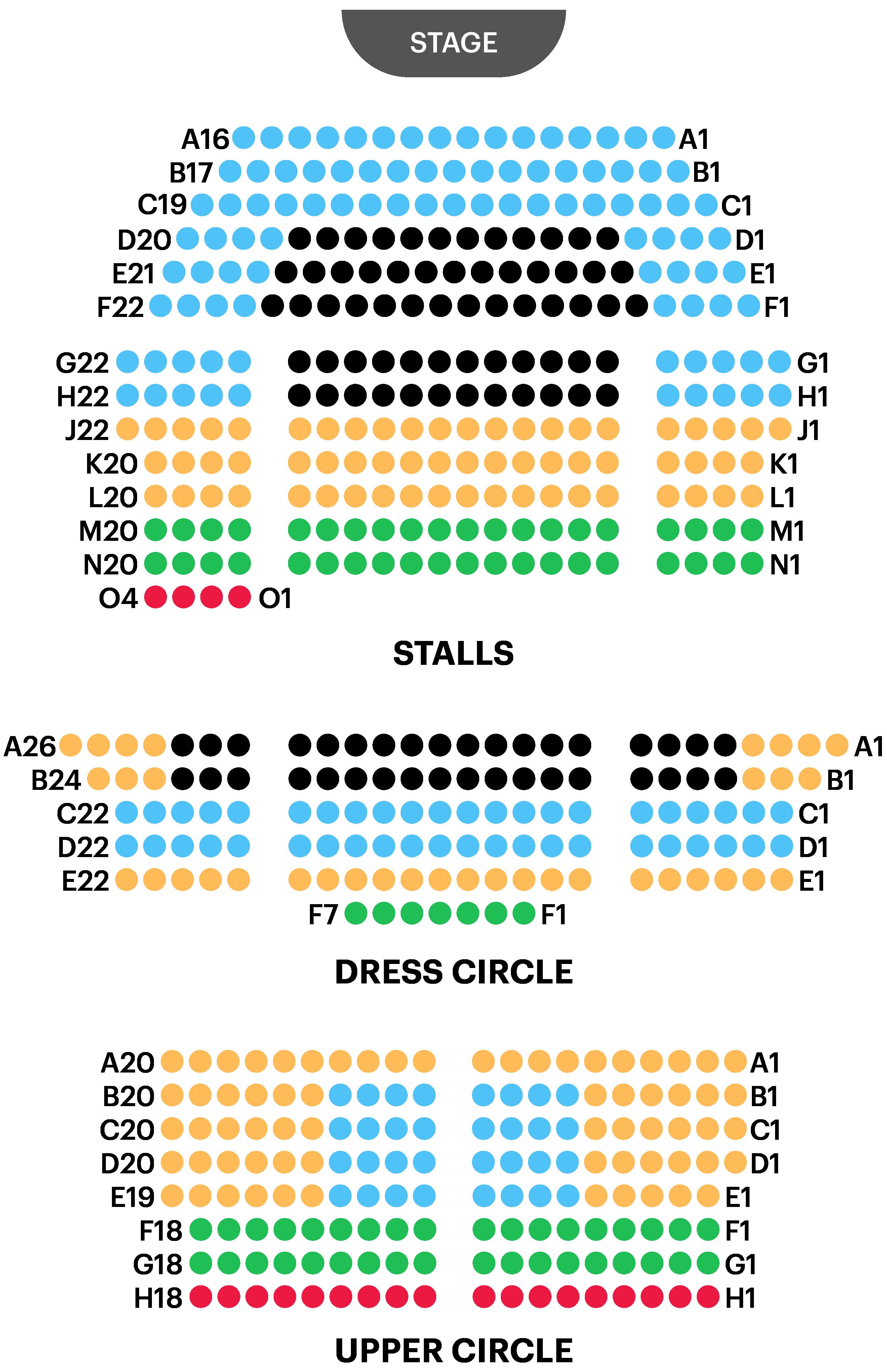 St. Martin's Theatre Seating Plan