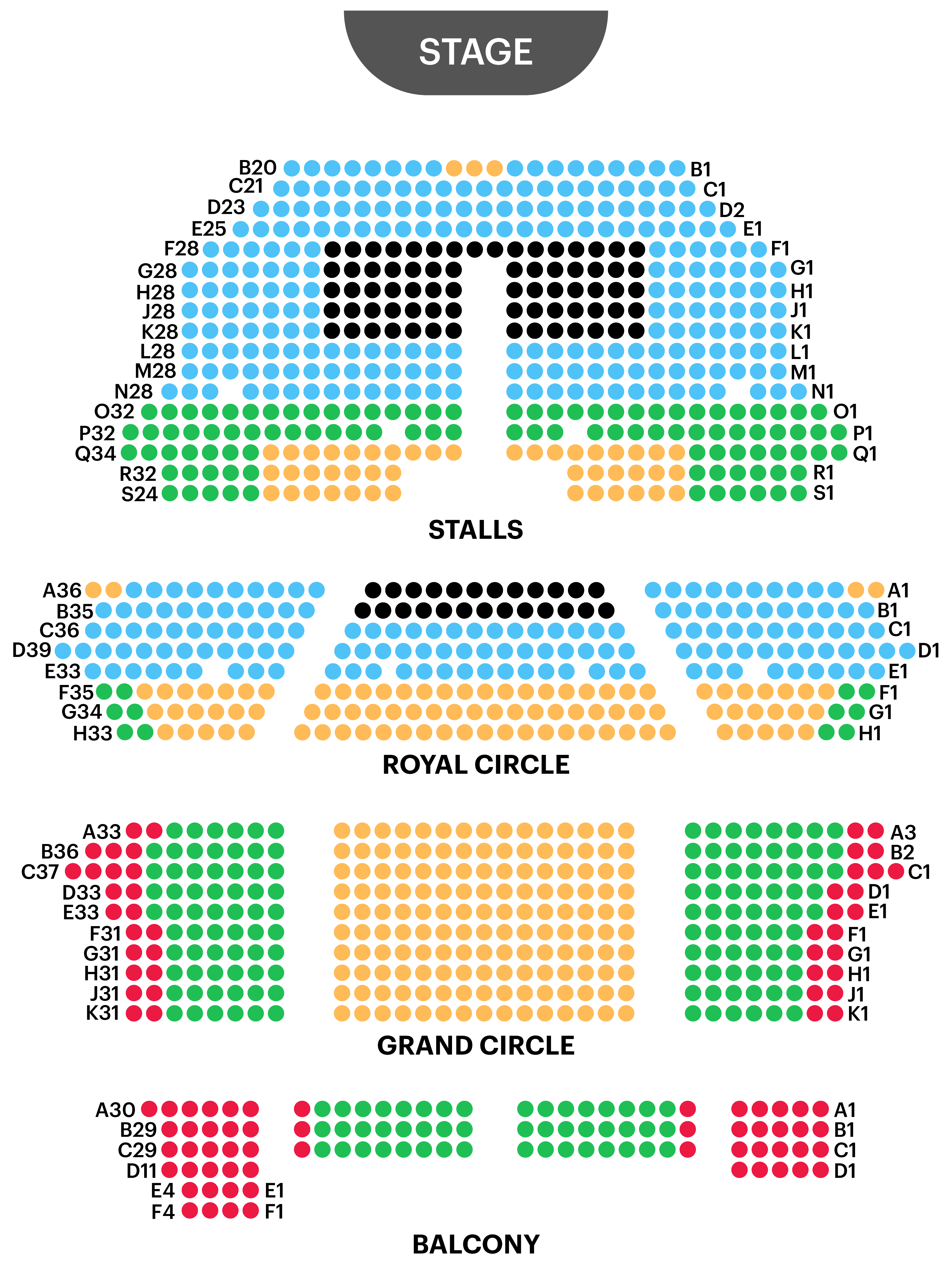 Her Majesty's Theatre Seating Map