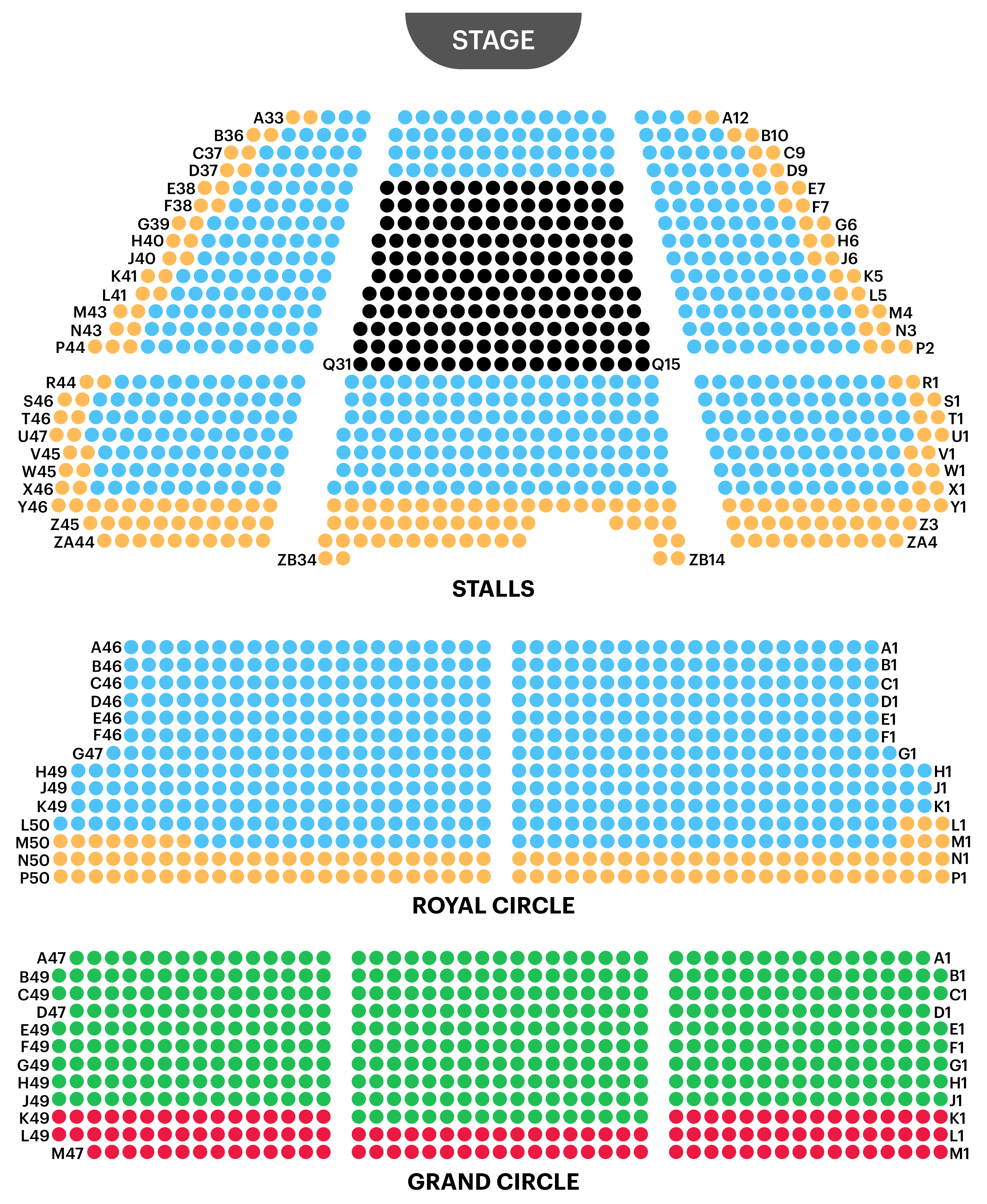 Lyceum Theatre Seating Map