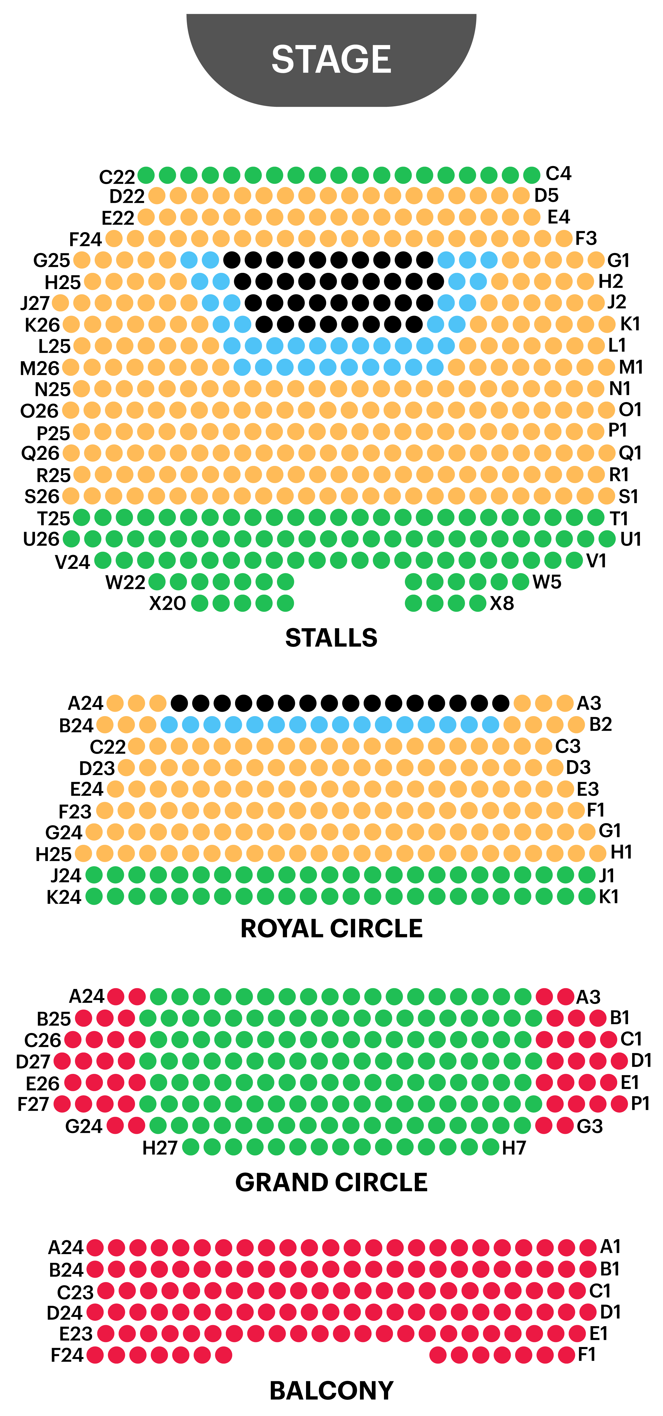 Novello Theatre Seating Map