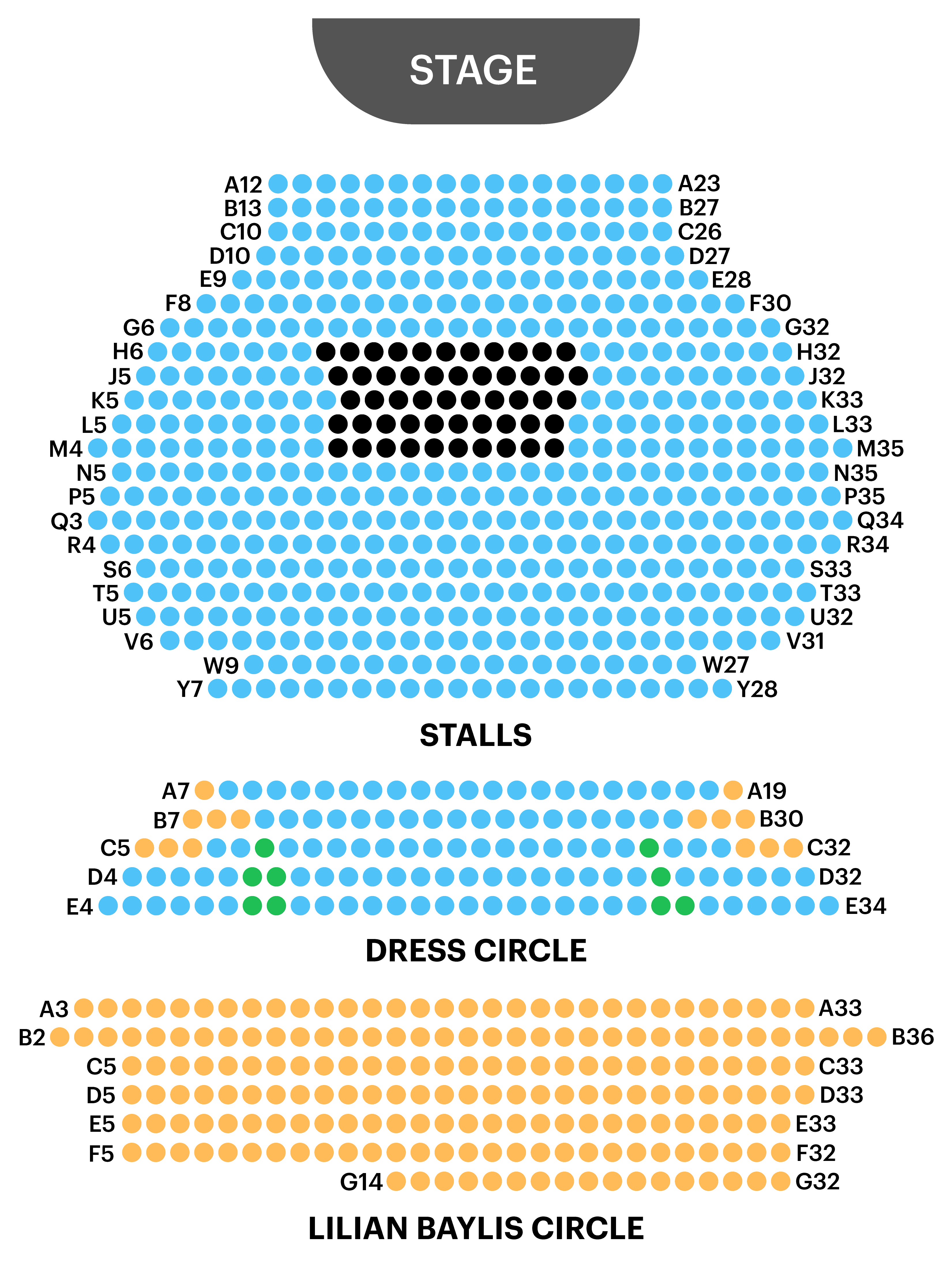 Old Vic Theatre Seating Map