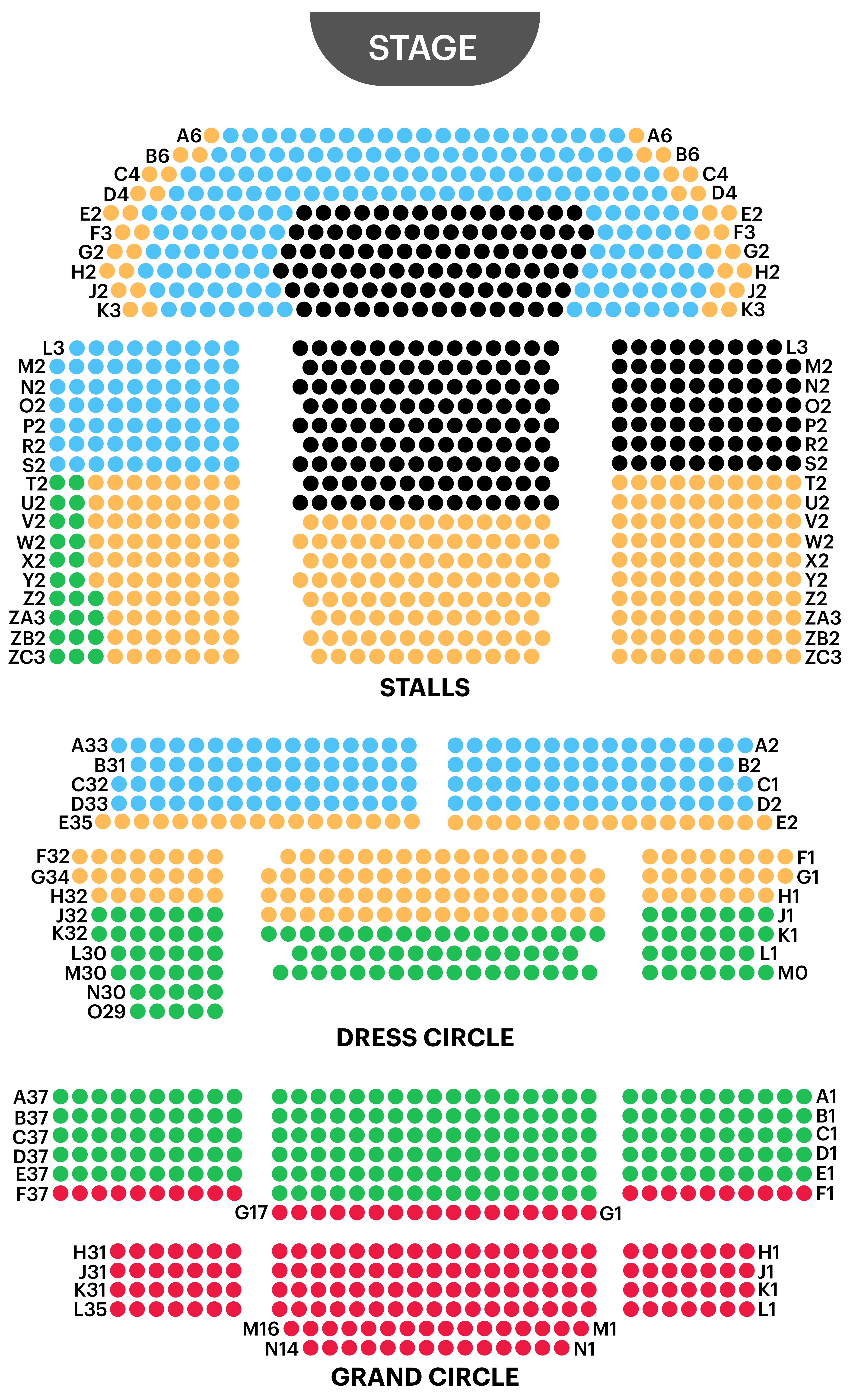 Prince Edward Theatre Seating Map