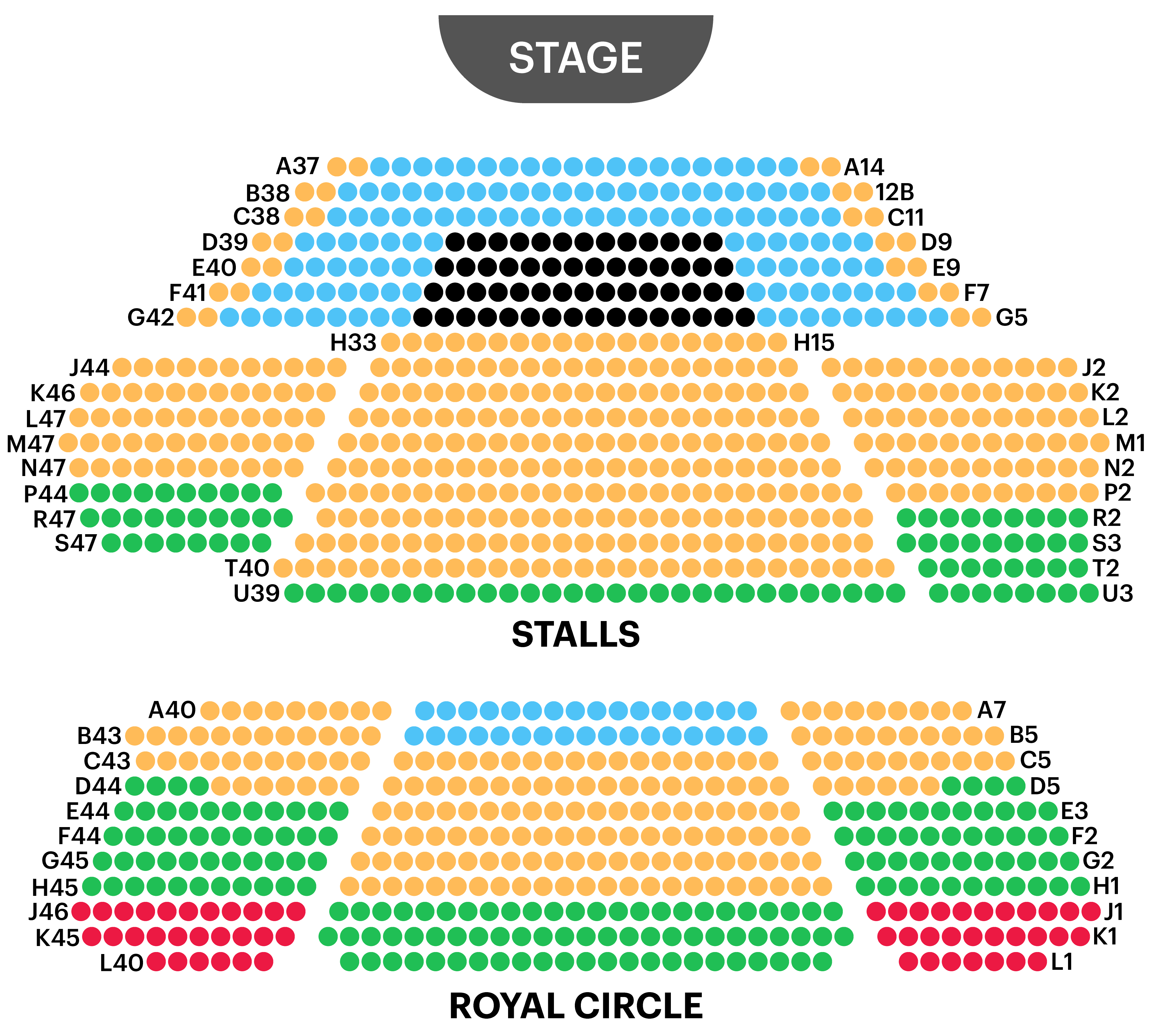 Prince of Wales Theatre Seating Map