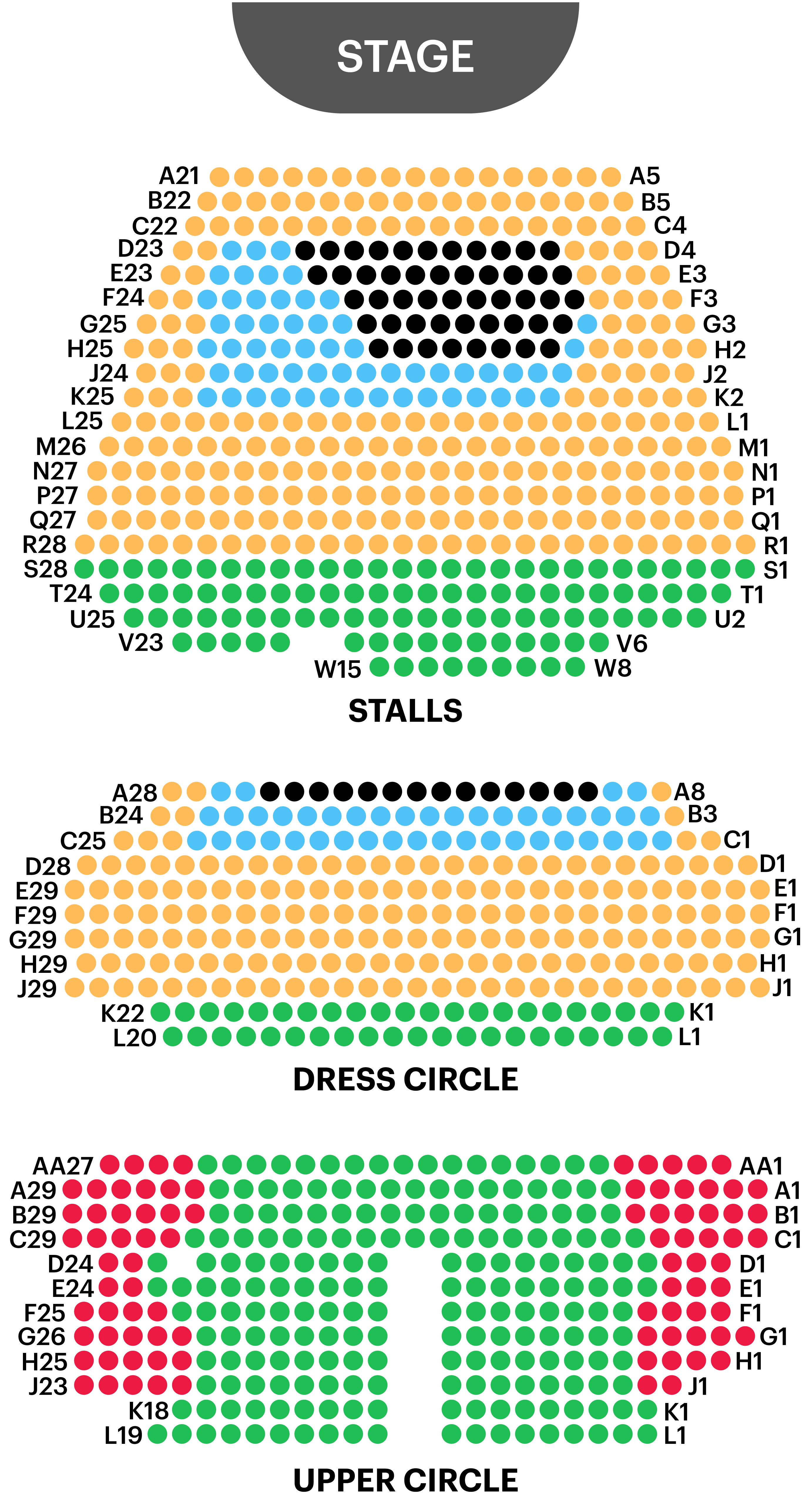 Queens Theatre Seating Map
