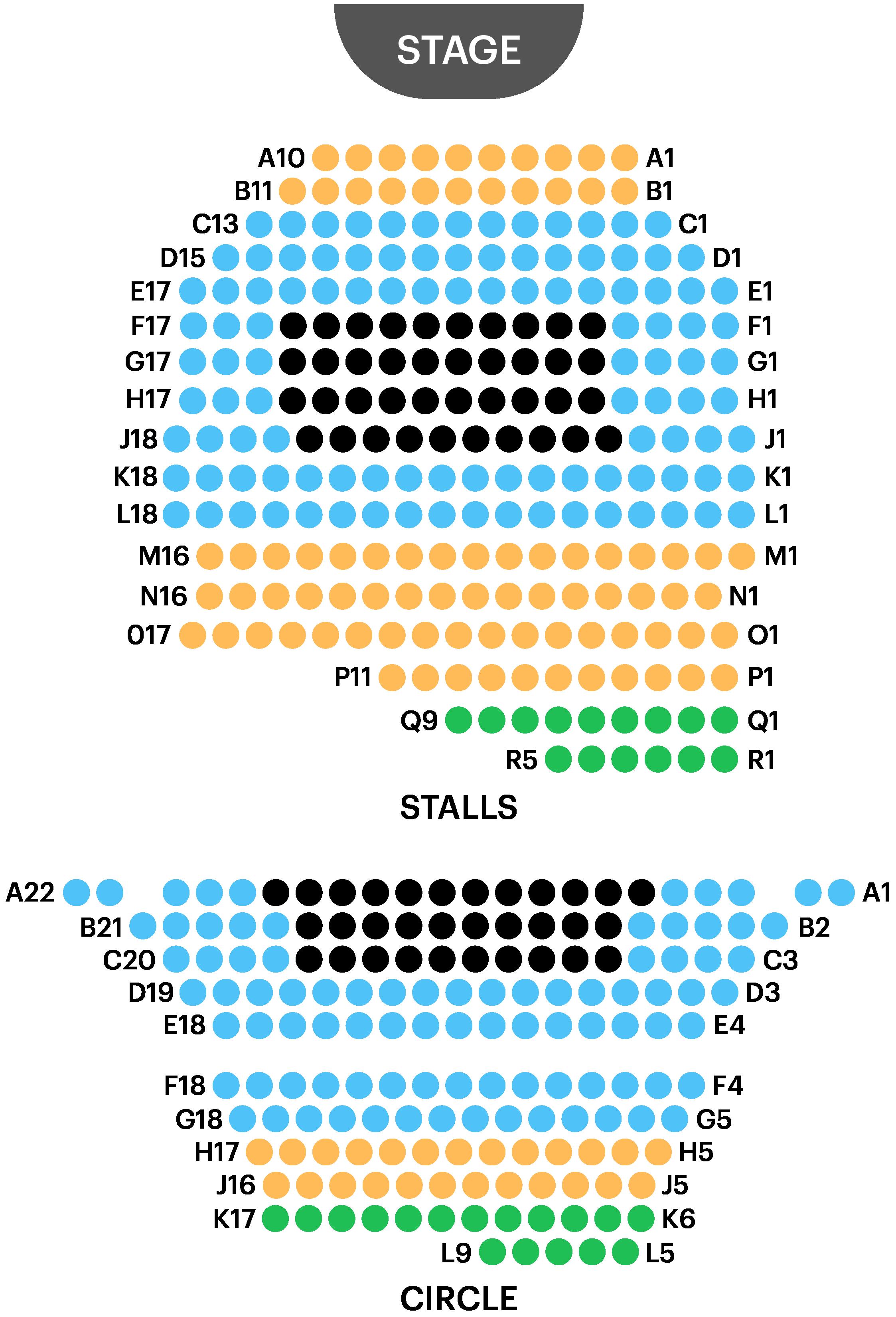 Ambassador Theatre Seating Map