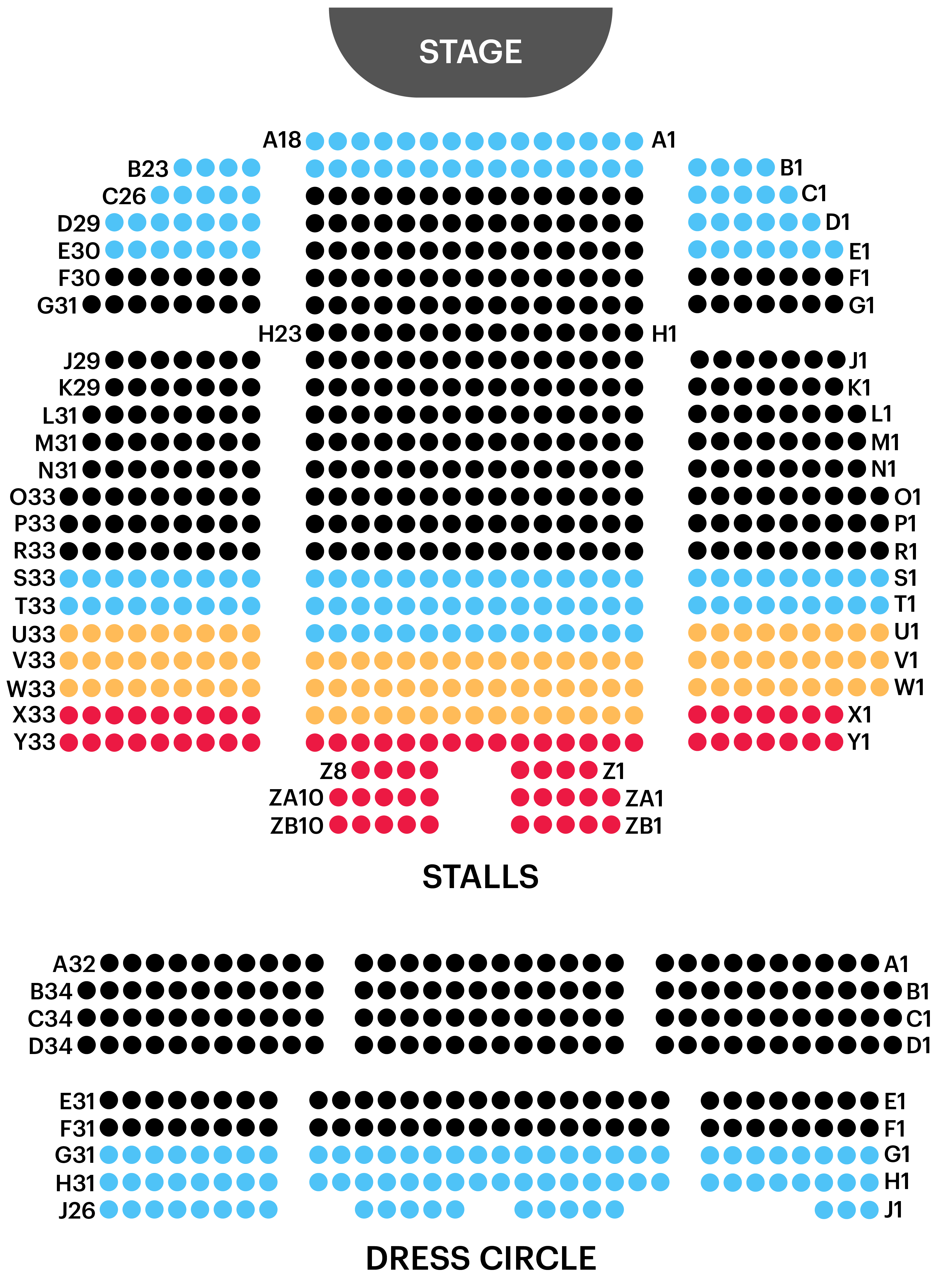 Peacock Theatre Seating Map